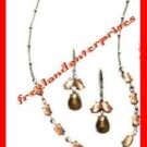"Necklace & Earring Cabochon ""Y"" Gift Set ~ Brown & Silvertone ~"