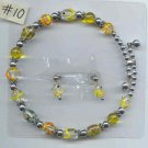 Necklace #10 Memory Wire Beaded Glass Beads & Earrings