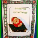 Christmas PIN #286 Santa in Sled Goldtone & Enamel HOLIDAY Brooch
