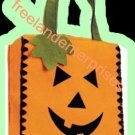 Halloween Pumpkin Orange Trick O Treat Face Tote NEW 8""