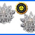 Earring Sterling Silver Diamond Accent Pierced Post NEW