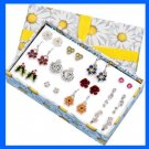Earring Flowers of the Month 12 Months/Pairs in Gift Box