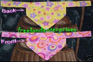 Dog Reversible Neckerchief Sleeve Pink CircleYellowStar