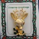 Christmas PIN #341 Reindeer Goldtone w/Enamel Green Holly & Crystal-8 point Buck