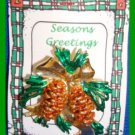 Christmas PIN #340 VTG Pine Cone & Pine Bough Goldtone with Enamel Green Pine