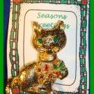 Christmas PIN #328 Cat/Kitty Goldtone & Enamel w/Holly VINTAGE Brooch