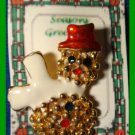 Christmas PIN #322 Snowman Goldtone & Enamel White Scarf & Red Hat