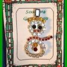 "Christmas PIN #310 Vtg Snowman Prong Set Rhinestones & Silvertone ""Sparkling"" XC"