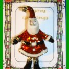 Christmas PIN #292 Santa with Wiggly Legs Goldtone & Enamel HOLIDAY Brooch