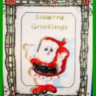 Christmas PIN #289 Santa, White Glove & Sack Red-White-Black Enamel HOLIDAY