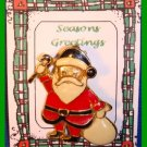 Christmas PIN #288 Santa, White Sack & Cane Goldtone & Enamel HOLIDAY Brooch