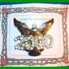 Christmas PIN #171 Silvertone & Goldtone Angel Year 2000 Rhinestones