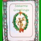 Christmas PIN #159 Guardian Angel Goldtone & Enamel Wreath Tac/Lapel Pin VGC