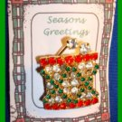 Christmas PIN #146 Little Drummer Boy's Drum With Rhinestones HOLIDAY Brooch VGC