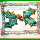 Christmas PIN #140 VTG Holly Enamel Leaves & Crystals Berries HOLIDAY Brooch VGC