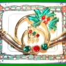 Christmas PIN #128 Signed AJC Horn Holly & Crystal Goldtone HOLIDAY