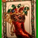 Christmas PIN #124 Signed Christopher Radko Red Stocking Goldtone HOLIDAY BROOCH
