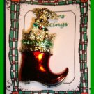Christmas PIN #123 Signed Gerrys Red Boot Goldtone with Poodle Like Dog HOLIDAY