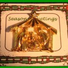 Christmas PIN #104 Goldtone Manger Scene Tac Pin with Star Rhinestone Accent VGC