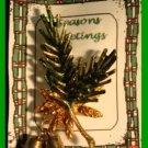 Christmas PIN #099 VTG Pine Bough, Pine Cones & 2 Jingle Bells Goldtone  HOLIDAY