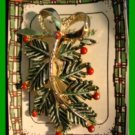 Christmas PIN #097 Vintage Signed Gerrys Pine Tree Bough Branch wBerries HOLIDAY
