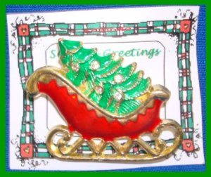 Christmas PIN #084 Sleigh Goldtone & Red & Green Enamel with 5 Clear Rhinestones