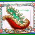 Christmas PIN #082 Red Sleigh Green Tree W/Rhinestones Goldtone HOLIDAY Brooch