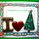Christmas PIN #074 I Love Christmas Enamel Goldtone-Red-Green HOLIDAY Brooch
