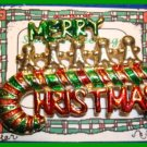Christmas PIN #067 VTG Merry Christmas Candy Cane Red & Green HOLIDAY BROOCH