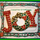 Christmas PIN #065 JOY Red & Green Goldtone with Rhinestones HOLIDAY