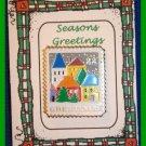 Christmas PIN #055 Greetings Stamp Village Scene 1986, 22 Cent Enamel ~Goldtone~