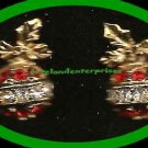 Christmas Earrings Sparkling Christmas Ornament Red & Clear Rhinestones Pierced