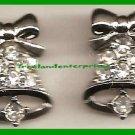 Christmas Earrings #335a Jingle Bell Pierced Earg Rhinestones/Silvertone Sparkle