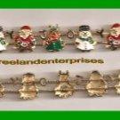 "Christmas Bracelet Slide JOY Goldtone Small 7 1/2"" (9 sliding charms) Unique"