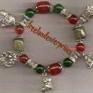 "Christmas Bracelet Charms & Beads Silvertone Stretch 7"""
