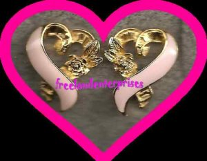"Breast Cancer Pink Ribbon Pierced Earrings 3/4"" x 5/8"""