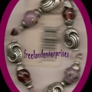 Bracelet Beaded 118 Stretchie Pink/Purple Pewter NEW