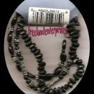 Bracelet Beaded 103 Stretchie Black-Silvertone NEW 3tot