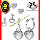 Earring Silvertone Hearts Set of 3 Heart Earrings with Box