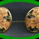 Earring Orchid Flower Enamel Cloisonne Pierced Earring Vintage