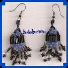 Earring Dangling Beaded Pierced Earrings Black & Blue NEW