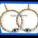 Earring Bejeweled Hoop Earrings Teal -Turquoise Color NEW Pierced