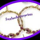 Earring Bejeweled Hoop Earrings Grape (Purple) Color NEW Pierced
