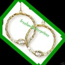 Earring Bejeweled Hoop Earrings Clear (White) Color NEW Pierced