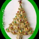 Christmas PIN Tree Goldtone w/ Red & Green Enamel Dots