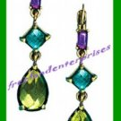 """Earring Facet Geometric Jeweltone Linear 1 3/4"""" Pierced -Matches Listed Necklace"""