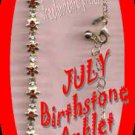 Anklet Birthstone Flower Anklet Goldtone JULY ~NEW Boxed~