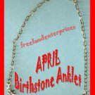 Anklet Birthstone Flower Anklet Goldtone APRIL ~NEW Boxed~