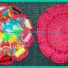 Crocheted Sewing Pin Cushion with Thread Caddy 11 Reversible Pink