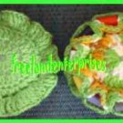 Crocheted Sewing Pin Cushion with Thread Caddy 01 Reversible Orange & Green